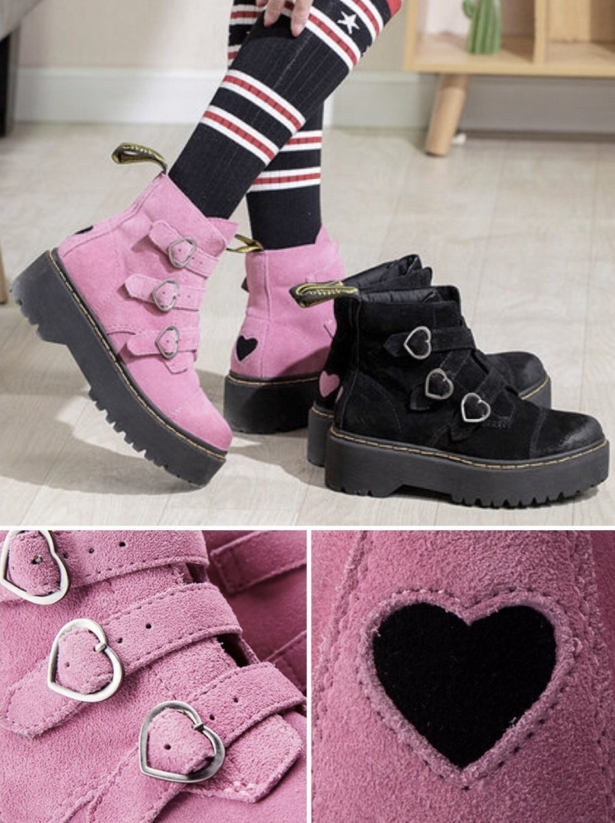BlissGirl - I Heart Your Soul Martin Boots - Pink / 37 - Harajuku - Kawaii - Alternative - Fashion