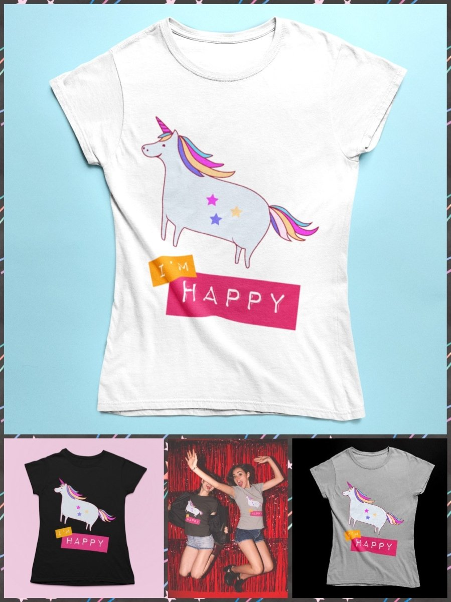"BlissGirl - ""I'm Happy"" Unicorn Tee - Harajuku - Kawaii - Alternative - Fashion"