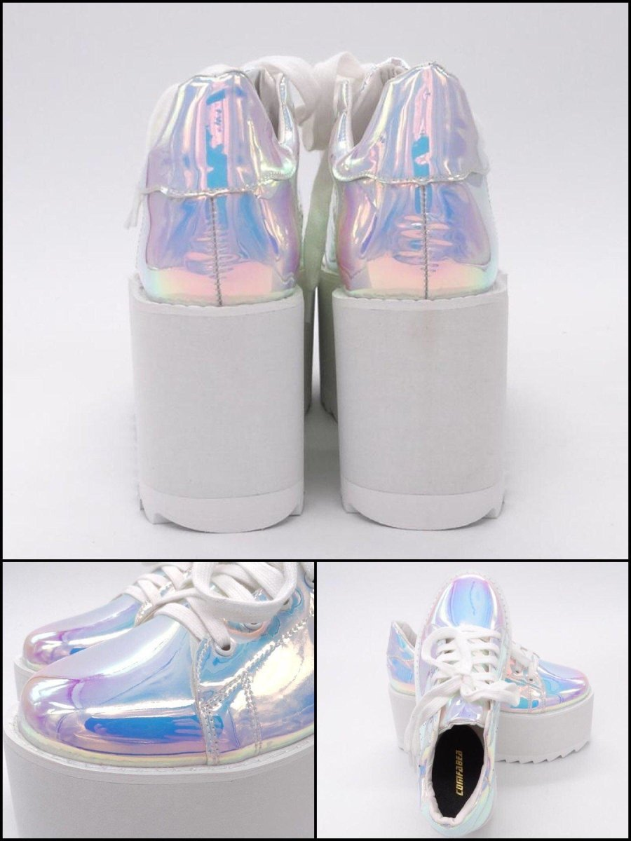 BlissGirl - Iridescent Pink Platform Creepers - Harajuku - Kawaii - Alternative - Fashion
