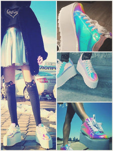 BlissGirl - Iridescent Pink Platform Creepers - Pink / 35 - Harajuku - Kawaii - Alternative - Fashion