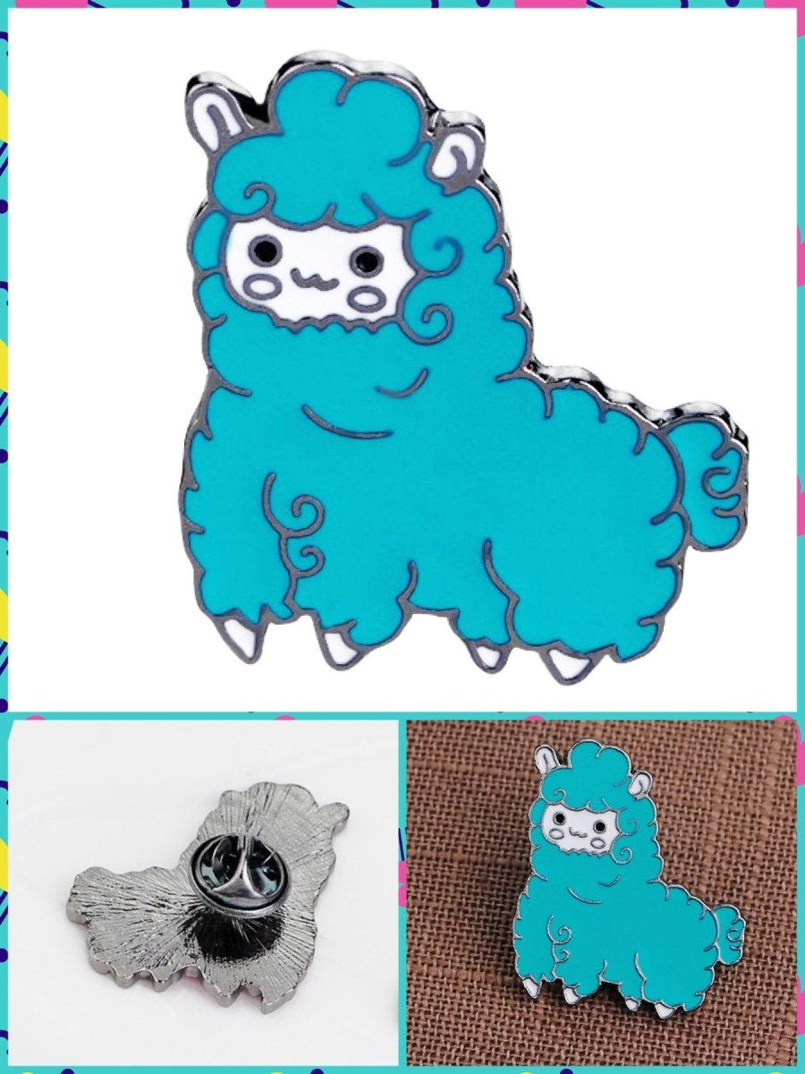 BlissGirl - Kawaii Alpaca Pin - Blue - Harajuku - Kawaii - Alternative - Fashion