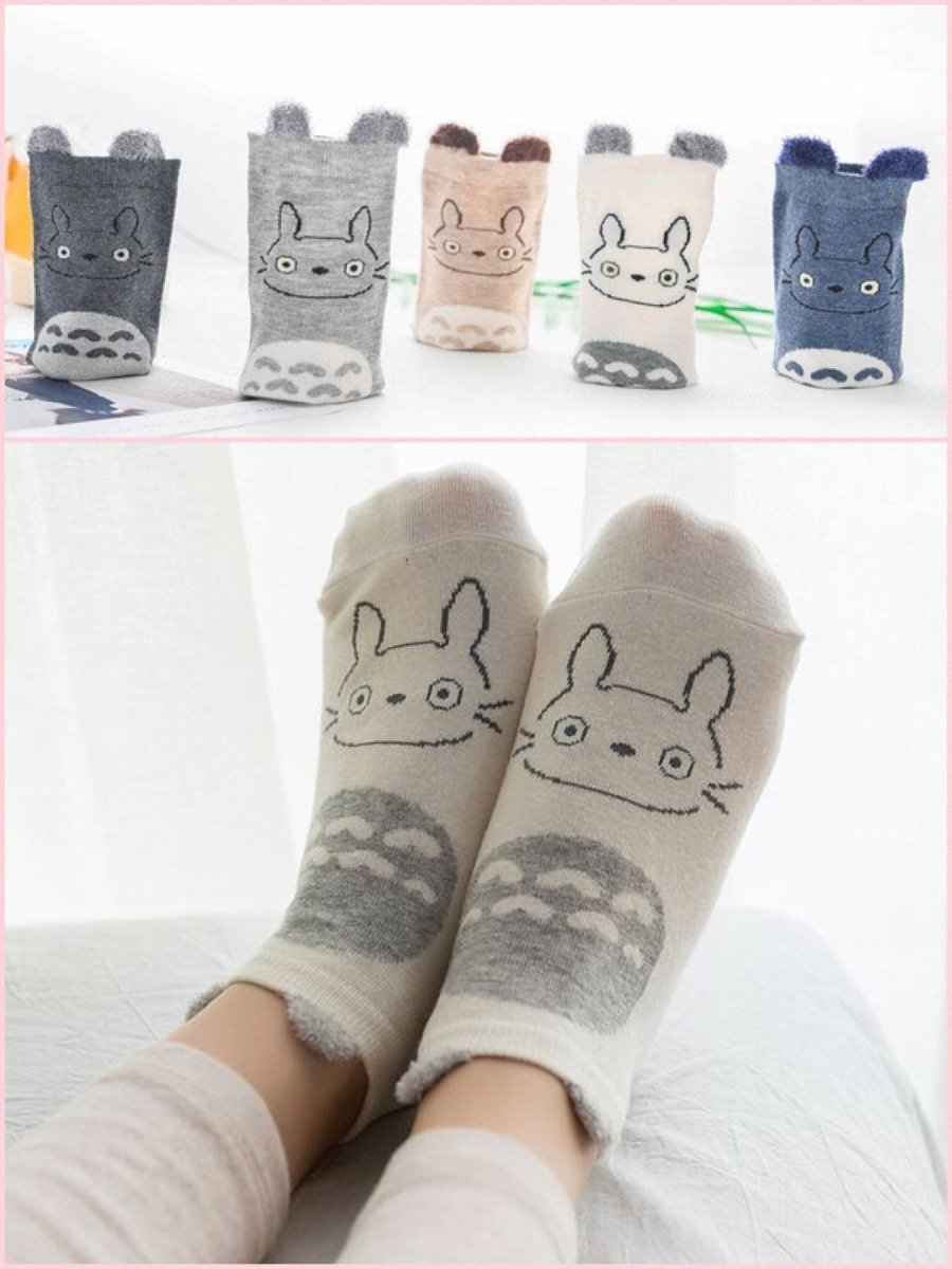 BlissGirl - Kawaii Animals Socks 5 Pack - Totoro - Harajuku - Kawaii - Alternative - Fashion
