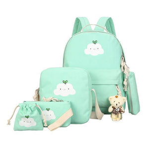 BlissGirl - Kawaii Cloud Canvas School Bag Set - Green - Harajuku - Kawaii - Alternative - Fashion