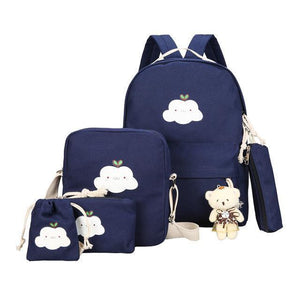 BlissGirl - Kawaii Cloud Canvas School Bag Set - Blue - Harajuku - Kawaii - Alternative - Fashion