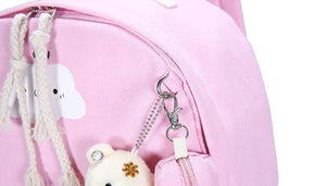 BlissGirl - Kawaii Cloud Canvas School Bag Set - Harajuku - Kawaii - Alternative - Fashion