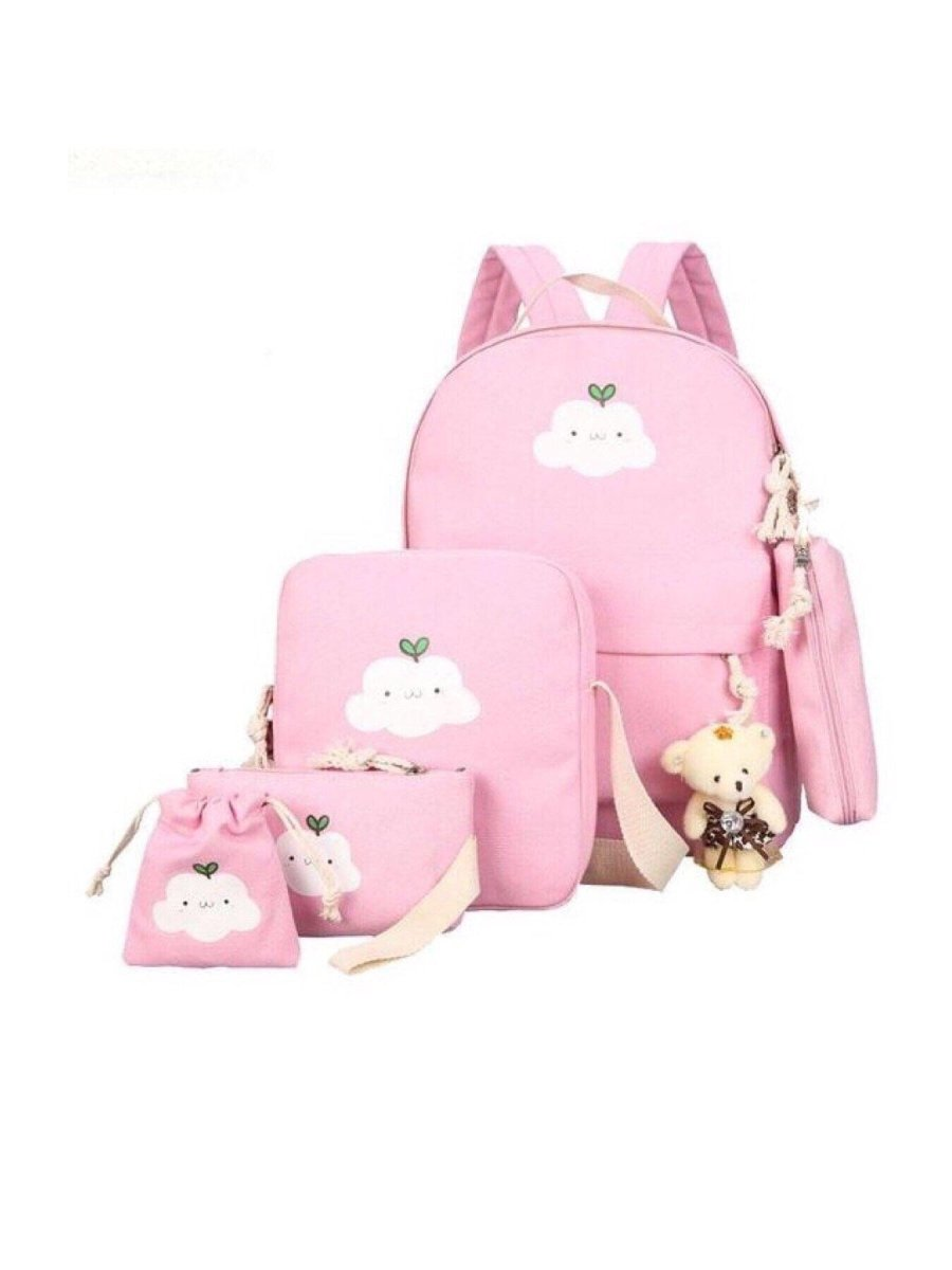 BlissGirl - Kawaii Cloud Canvas School Bag Set - Pink - Harajuku - Kawaii - Alternative - Fashion