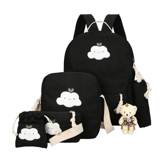 BlissGirl - Kawaii Cloud Canvas School Bag Set - Black - Harajuku - Kawaii - Alternative - Fashion