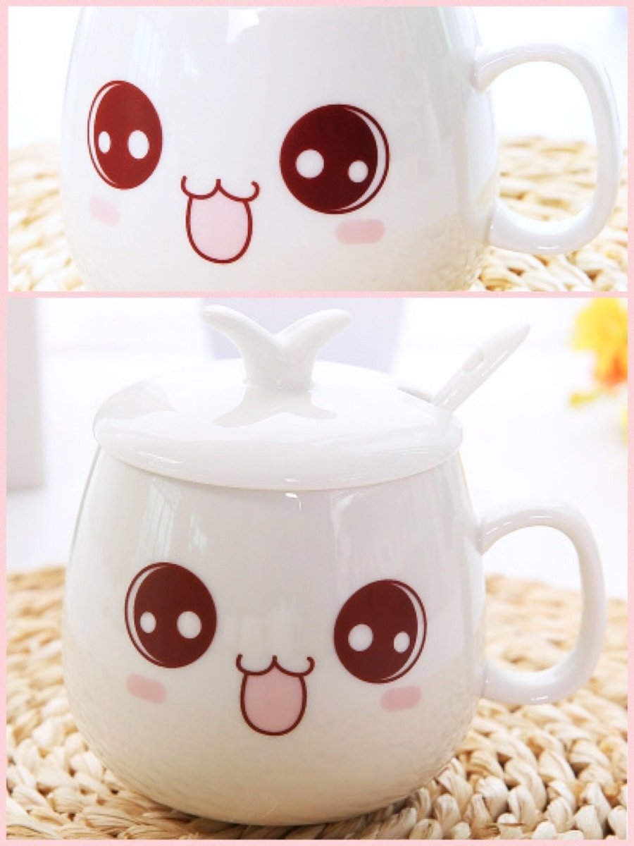 BlissGirl - Kawaii Emoji Coffee Mugs - Happy / Lid - Harajuku - Kawaii - Alternative - Fashion