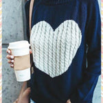 BlissGirl - Kawaii Heart Cozy Sweater - Navy + White Heart / S - Harajuku - Kawaii - Alternative - Fashion