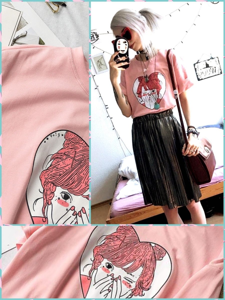 BlissGirl - Kawaii Heart Girl Tee - XS - Harajuku - Kawaii - Alternative - Fashion