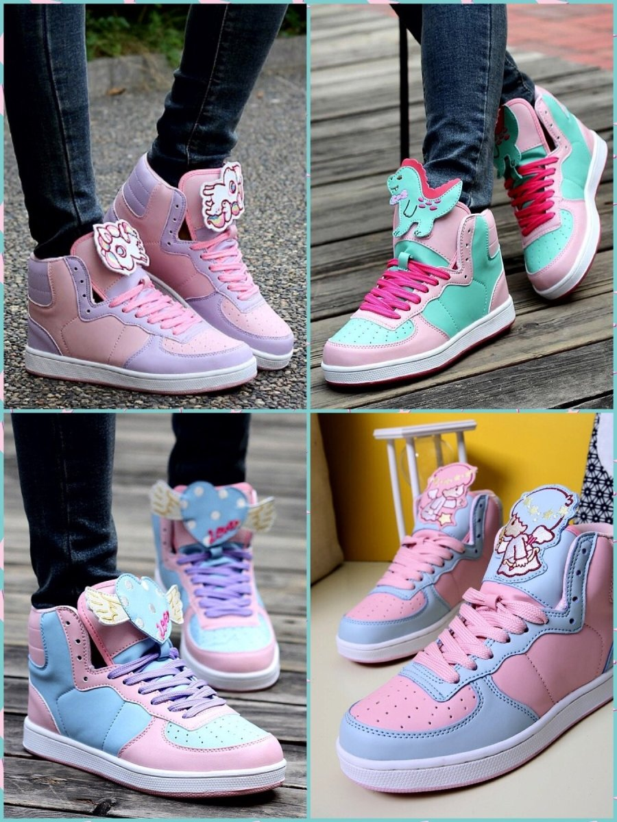 BlissGirl - Kawaii Hi Top Sneakers - Harajuku - Kawaii - Alternative - Fashion