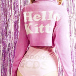 BlissGirl - Kawaii Kitty Crop Sweater - Harajuku - Kawaii - Alternative - Fashion
