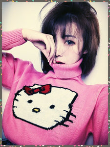 BlissGirl - Kawaii Kitty Crop Sweater - Pink / One size - Harajuku - Kawaii - Alternative - Fashion