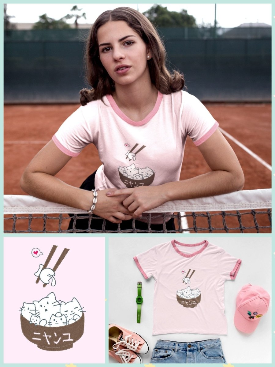 BlissGirl - Kawaii Kitty Ramen Ringer Tee - S / Pink - Harajuku - Kawaii - Alternative - Fashion