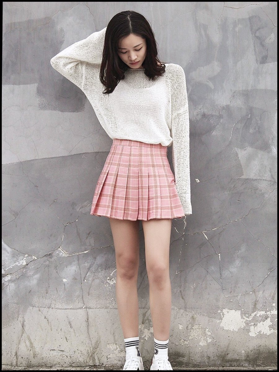 BlissGirl - Kawaii Plaid Pleated Tennis Skirt - Pink / S - Harajuku - Kawaii - Alternative - Fashion