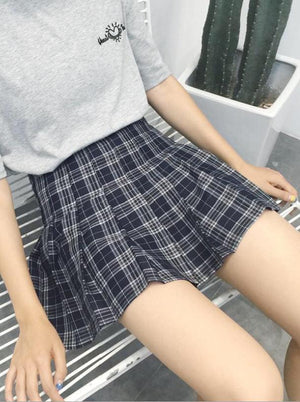 BlissGirl - Kawaii Plaid Pleated Tennis Skirt - Dark Blue / S - Harajuku - Kawaii - Alternative - Fashion