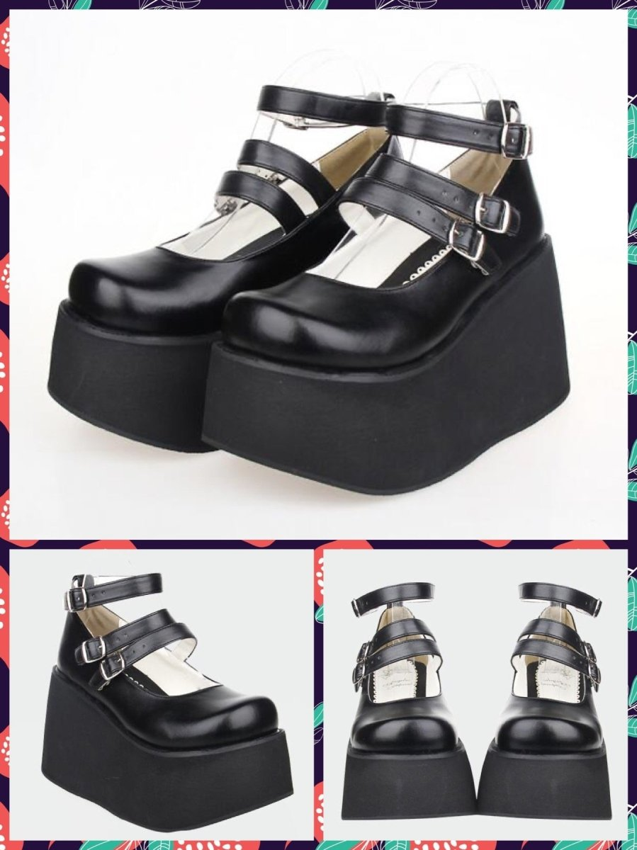 BlissGirl - Kawaii Platform Mary Janes - Black / 37 - Harajuku - Kawaii - Alternative - Fashion