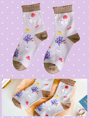 BlissGirl - Kawaii Ruffle Animal Socks - Brown - Harajuku - Kawaii - Alternative - Fashion