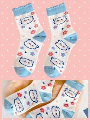 BlissGirl - Kawaii Ruffle Animal Socks - Blue - Harajuku - Kawaii - Alternative - Fashion