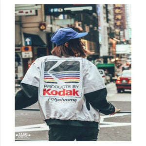 BlissGirl - Kodak Oversized Bomber Jacket - White / L - Harajuku - Kawaii - Alternative - Fashion