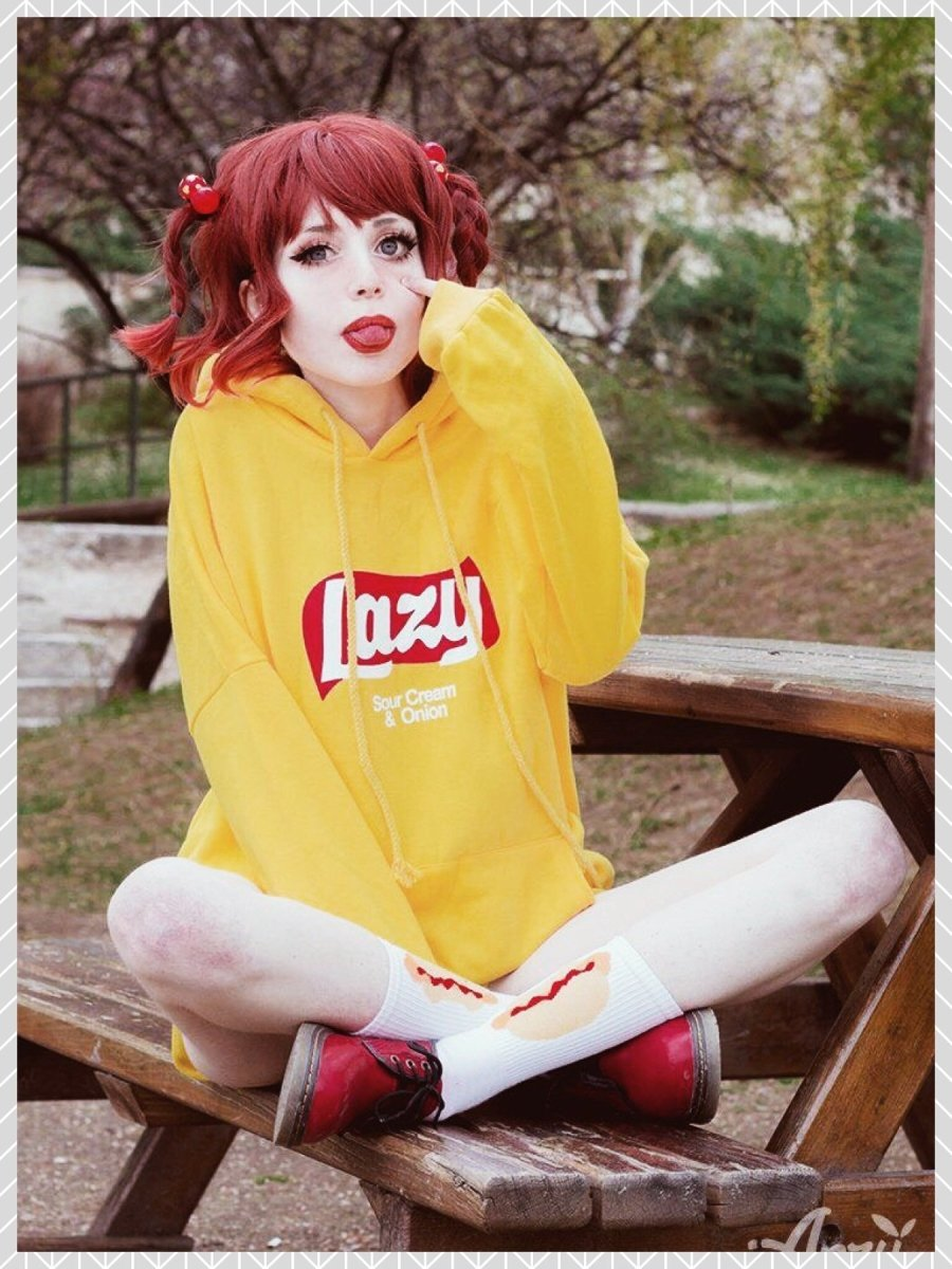 BlissGirl - Lazy Hoodie (Sour Cream & Onion) - yellow / L - Harajuku - Kawaii - Alternative - Fashion