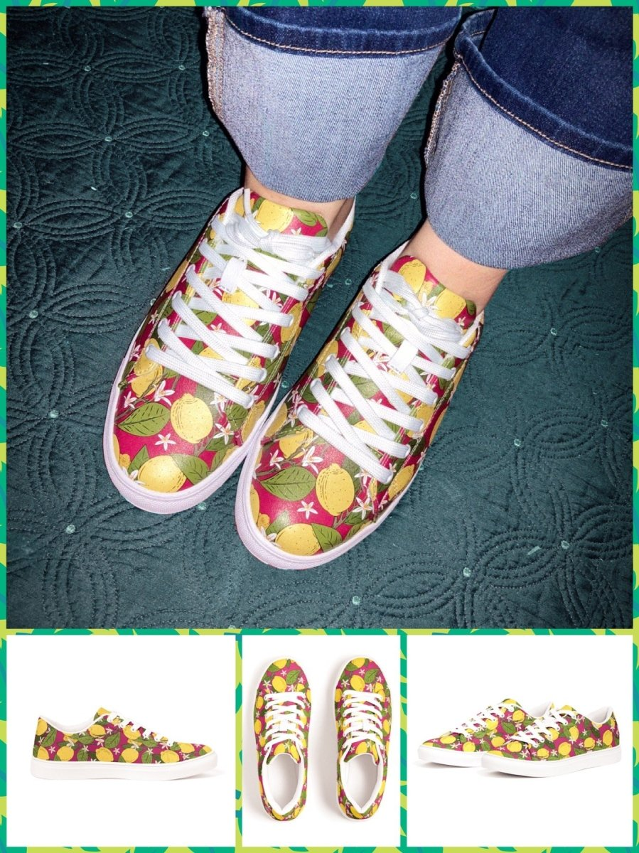 BlissGirl - Lemon Tree Vegan Leather Sneakers - 12 - Harajuku - Kawaii - Alternative - Fashion