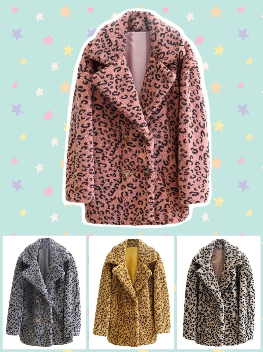 BlissGirl - Leopard Trench Coat - Harajuku - Kawaii - Alternative - Fashion