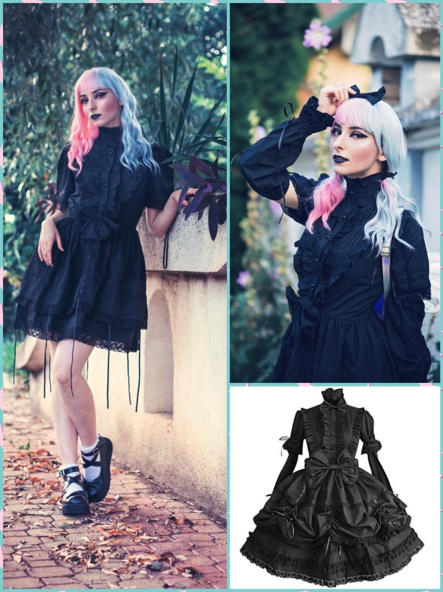 BlissGirl - Lolita Ruffle & Bow Dress - Black / S - Harajuku - Kawaii - Alternative - Fashion
