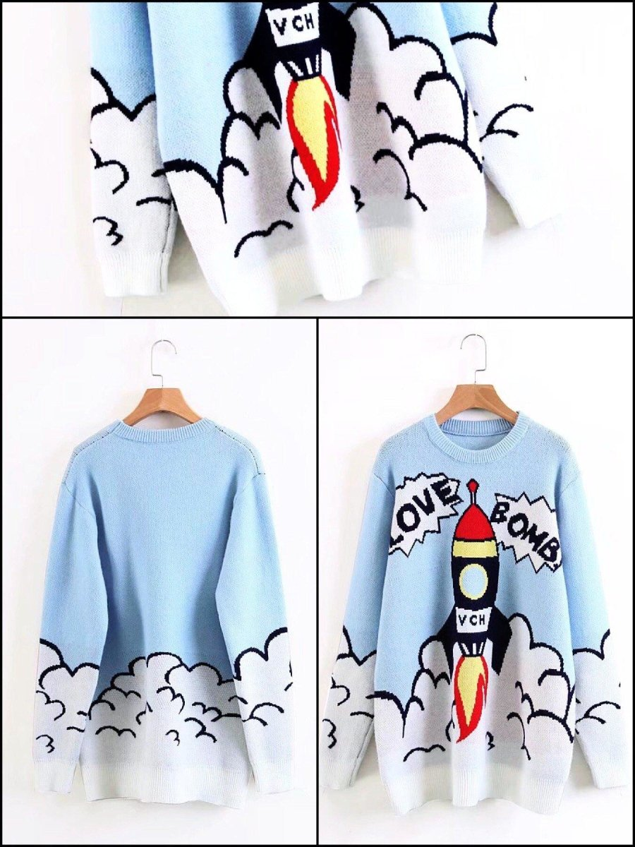 BlissGirl - Love Bomb Rocket Sweater - Harajuku - Kawaii - Alternative - Fashion