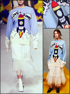 BlissGirl - Love Bomb Rocket Sweater - Blue / One Size - Harajuku - Kawaii - Alternative - Fashion