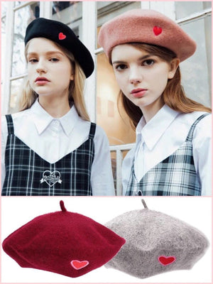 BlissGirl - Love Wool Beret - Harajuku - Kawaii - Alternative - Fashion