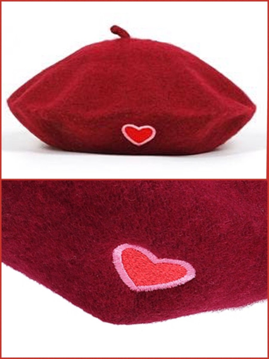 BlissGirl - Love Wool Beret - Red - Harajuku - Kawaii - Alternative - Fashion
