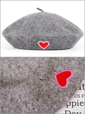 BlissGirl - Love Wool Beret - Grey - Harajuku - Kawaii - Alternative - Fashion