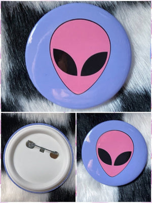 BlissGirl - Pastel Alien Button - 2.25 inch - Harajuku - Kawaii - Alternative - Fashion