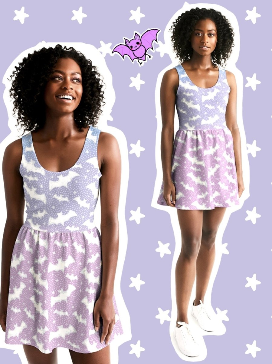 BlissGirl - Pastel Bats Skater Dress - XS - Harajuku - Kawaii - Alternative - Fashion