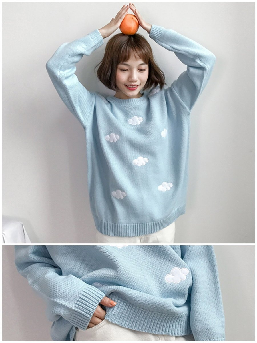 BlissGirl - Pastel Cloud Sweater - Blue - Harajuku - Kawaii - Alternative - Fashion