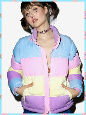 BlissGirl - Pastel Striped Puff Jacket - Harajuku - Kawaii - Alternative - Fashion