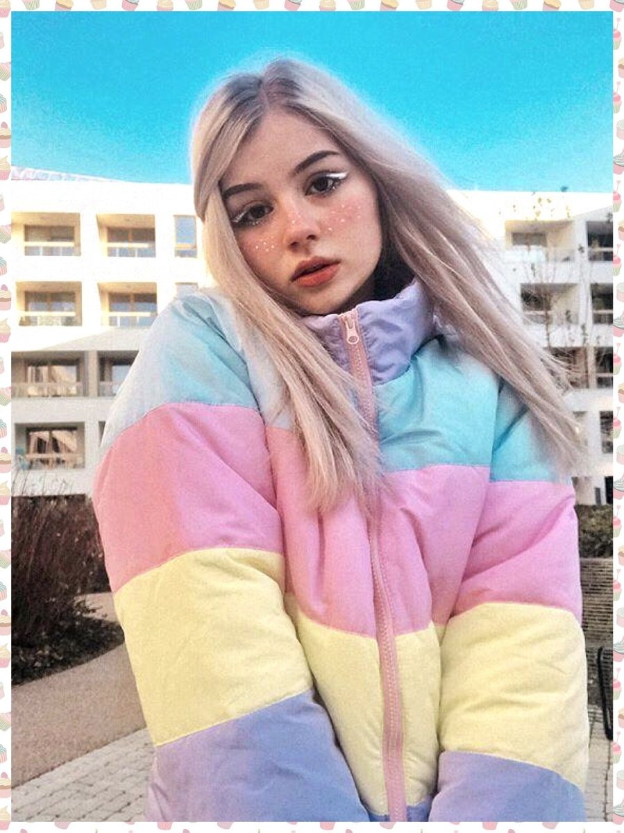 BlissGirl - Pastel Striped Puff Jacket - S - Harajuku - Kawaii - Alternative - Fashion