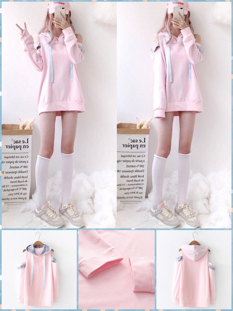 BlissGirl - Pink Kawaii Fancy Shoulder Hoodie - Pink / One size - Harajuku - Kawaii - Alternative - Fashion