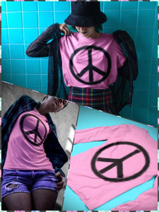 BlissGirl - Pink Peace Long Sleeve Tee - XS - Harajuku - Kawaii - Alternative - Fashion