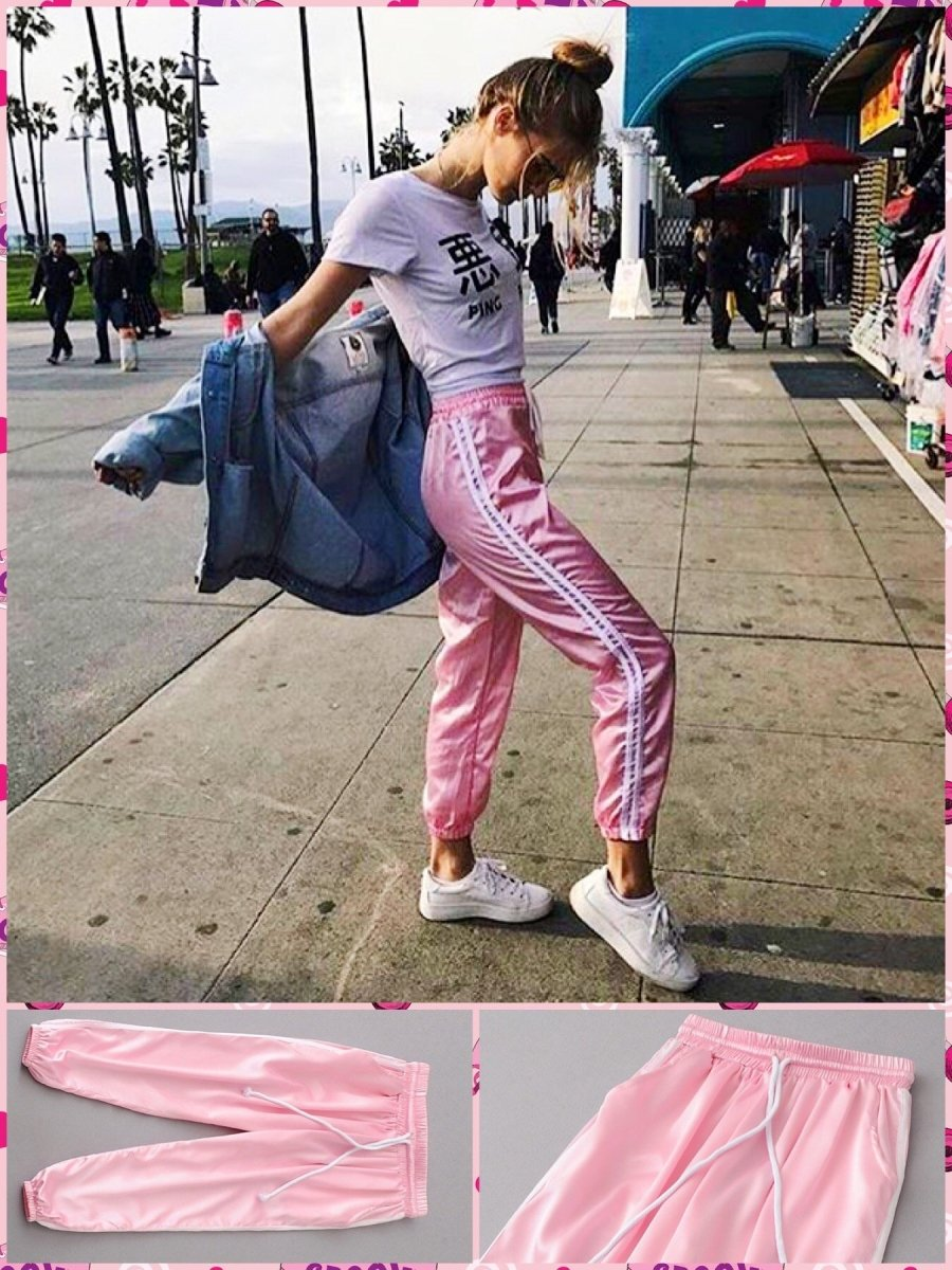 BlissGirl - Pink Striped Jogger Pants - Pink / S - Harajuku - Kawaii - Alternative - Fashion