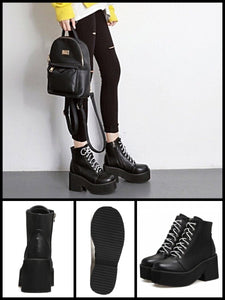 BlissGirl - Platform Chunky Heel Boots - Black / 39 - Harajuku - Kawaii - Alternative - Fashion