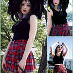 BlissGirl - Punk Plaid Zipper Skirt - Harajuku - Kawaii - Alternative - Fashion