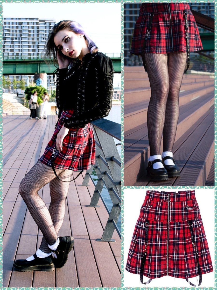 BlissGirl - Punk Plaid Zipper Skirt - M - Harajuku - Kawaii - Alternative - Fashion