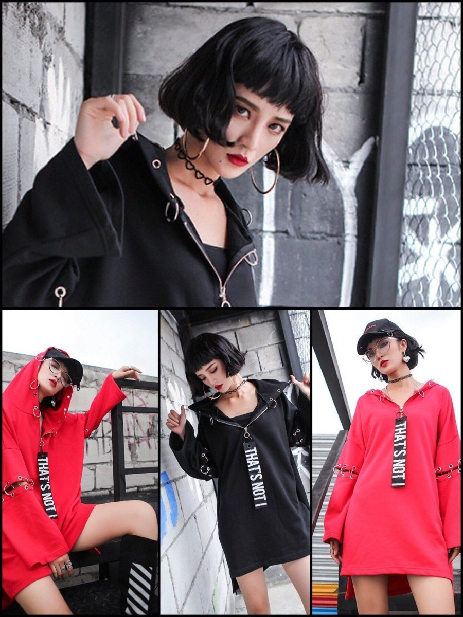 BlissGirl - Punky Metal Ring Long Hoodie Dress - Harajuku - Kawaii - Alternative - Fashion