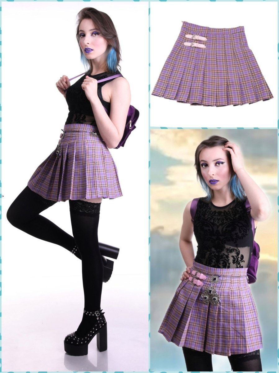BlissGirl - Purple Plaid Buckle Skirt - S - Harajuku - Kawaii - Alternative - Fashion