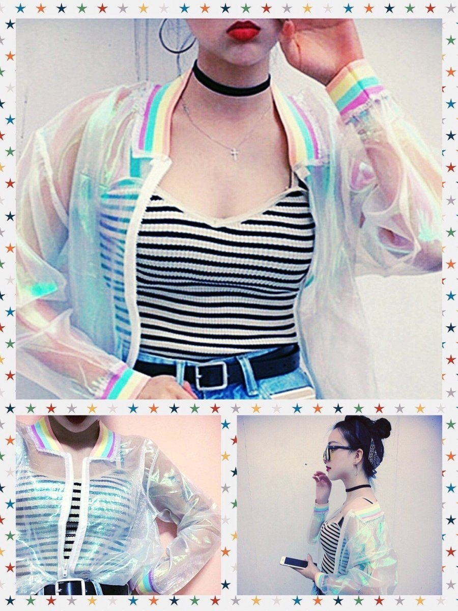 BlissGirl - Rainbow Hologram Transparent Jacket - Harajuku - Kawaii - Alternative - Fashion