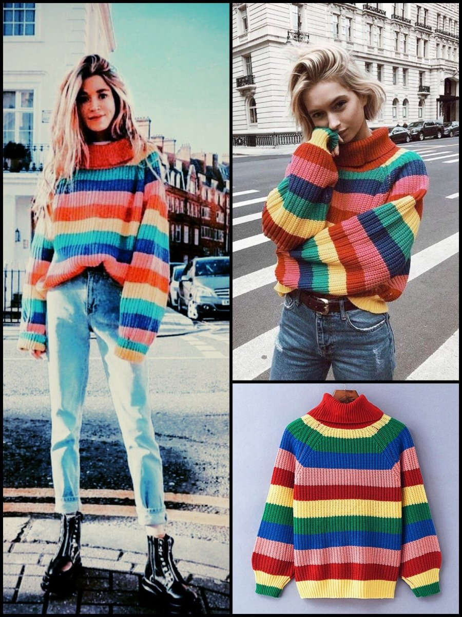 BlissGirl - Rainbow Sweater - One size - Harajuku - Kawaii - Alternative - Fashion