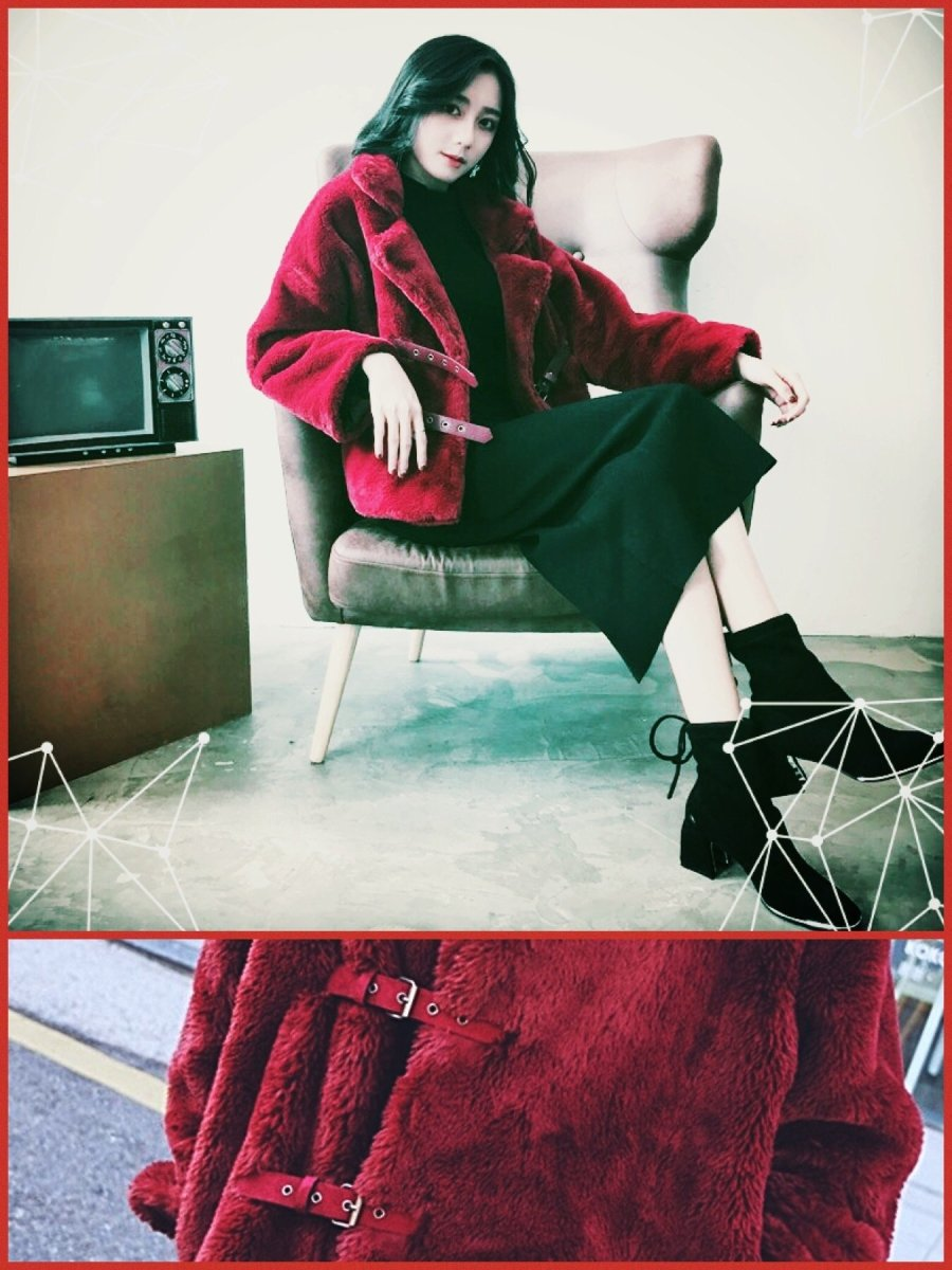 BlissGirl - Retro Buckle Fur Coat - Red / S - Harajuku - Kawaii - Alternative - Fashion