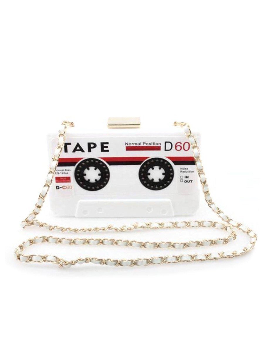 BlissGirl - Retro Cassette Tape Purse - White - Harajuku - Kawaii - Alternative - Fashion